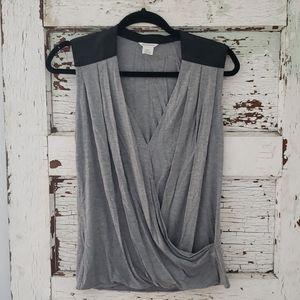 Club Monaco Wrap Tank with Leather Shoulders